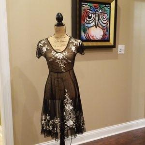 Biya boho mesh floral embroidered dress O212